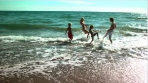 Kids in Kefalonia, enjoying the beach